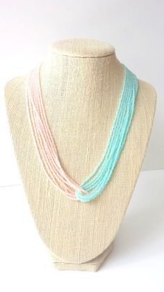 Mint and rose seed bead necklace pink and mint necklace mint image 4 Peach Necklace, Seed Bead Necklace, Seed Bead Jewelry, Bead Jewellery, Beaded Jewelry, Jewelery, Jewelry Necklaces, Handmade Jewelry, Collar Necklace