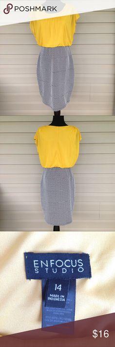 EUC Dress Yellow top with navy dot print bottom. Machine wash cold, drip,dry. Enfocus Studio Dresses Midi