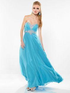 A-line Sweetheart Chiffon Ankle-length Blue Beading Prom Dress