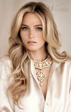 Amazing Natural Curly Blonde Hair With Black Root 100% Human Hair Long Lace Front Wigs About 20 inches: wigsbuy.com