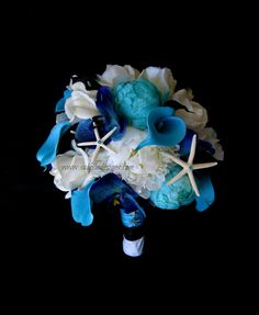 Real Touch Bridal Flower Bridesmaid Bouquet Grooms Boutonniere Starfish Blue Orchid Calla Lily Rose Aqua White Caribbean Sea Wedding Flowers