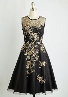 Dreamy Meets Dazzling Dress - Black, Gold, Solid, Embroidery, Special Occasion, Cocktail, Holiday Party, Homecoming, A-line, Sleeveless, Woven, Best, Long, Tulle