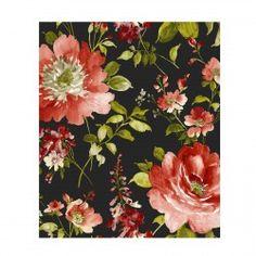 Rideau fleurs  noir prêt à poser tissu I Love You Thevenon