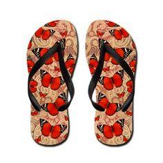 Red Butterfly Flip Flops