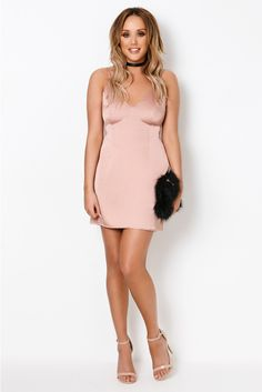 Charlotte Crosby Pink Satin Cami Mini Dress