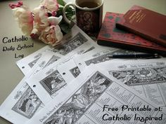 Homeschoolers...need a daily school log? It has beautiful Catholic images!! Catholic Inspired ~ Arts, Crafts, and Activities!: Daily School Log with Catholic Images {Block Form}