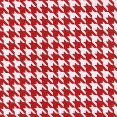 Red and White Houndstooth Fabric