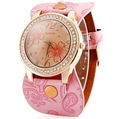 Womage 9965-3 Quartz Watch with Diamond Flower Leather Watchband for Women #FashionCasual