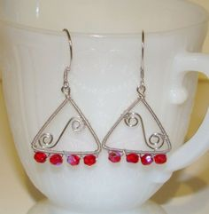 Earrings of Swinging Triangles in Sterling Silver and Red Czech Beads | lcholladay - Jewelry on ArtFire
