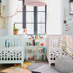 Mint and Blush Pink Cribs from @landofnod - love that this look for a subtle pop of color!