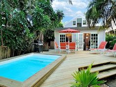 Key West house rental - The back deck is large, with 8 x 15 cocktail pool that will accommodate everyone