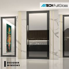 front doors with painted glass, black front doors, glass doors, modern entrance home Modern Entrance, Entrance Doors, Glass Front Door, Glass Doors, Black Front Doors, Black Glass, Modern Luxury, Mirror, Furniture