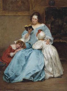 """"""" The First Chapter. Marie Elizabeth Seymour Lucas (French-born English, Oil on canvas. Martin's Lane Academy and later the. Old Paintings, Beautiful Paintings, Todays Reading, English Artists, Woman Reading, World Of Books, Freedom Of Speech, Female Images, Mother And Child"""