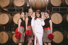 Jayna. Custom wedding dress by Kathryn bass bridal. Vegas style  wedding. Real weddings. Leopard bridesmaids