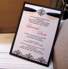 Ingledew Invites - Black Damask Invitation