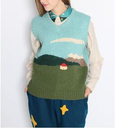 Preorder limited edition Neverland Collection my sweet little home under blue sky designed sleeveless sweater/ island collar ivory shirt by PurpleFishBowl2 on Etsy https://www.etsy.com/listing/205035040/preorder-limited-edition-neverland