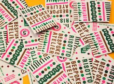 Risotto's invites for the 1st Birthday Party Riso print;: Green, Flat Gold, Fluoro Pink Thursday 5th Sept, The Glue Factory, Glasgow