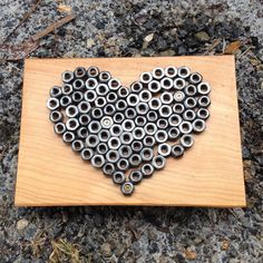 Heart on wood by MoreMetal on Etsy