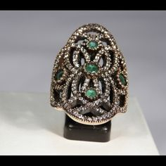 Two tone Ring 8.71cts. Turkish Natural Green Emerald .925 SS 14k Gold Ring size 7.5 Jewelry Rings