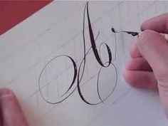 "Watch this quick demo of pointed pen Copperplate.  Notice, Hamid is lettering this without letting his hand touch the paper (or it will smudge).  He is working at a very large size, as well.  By exerting pressure on the flexible nib, he gets thick lines, by releasing, and barely touching the paper, he gets extremely thin ""hairlines.""  This takes a great deal of control."
