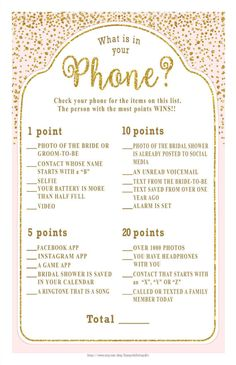 WHAT is in Your PHONE Bridal Shower game  gold accents & a