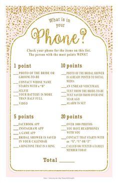 What is in Your PHONE? Bridal Shower game - digital gold foil dots on a blush background, Bachelorette, Engagement, diy PRINTABLE, Bridal Games, Wedding Games, Wedding Ideas, Engagement Party Games, Couples Wedding Shower Games, Couples Shower Themes, Hockey Wedding, Wedding Stuff, Bridal Bingo