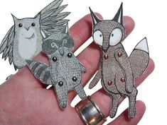 Woodland Animal Paper Dolls Puppets by teenytinyhappythings, $5.00
