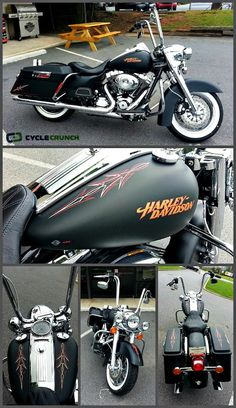FOR SALE 2013 Harley-Davidson Road King Classic   Only 4500 mi   Custom Pinstripes   Ready to ride   Click the image for full details and sellers contact info or go to www.CycleCrunch.com/412405   #motorcycle #roadking #harley #CycleCrunch