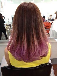 Brown and Faded Pastel Purple Dip Dye Hair