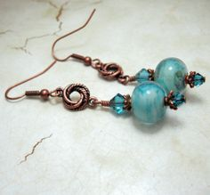 Lampwork Earrings Antique Copper Blue by StoneDesignsbySheila,