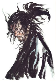 Musashi Miyamoto by Takehiko Inoue. Da notare il tratto del pennello. Brrrr...