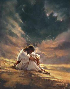 The temptation of Jesus Christ.  I love the representation of Satan in the dark cloud.