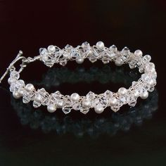 Snow Wire Crochet Pearl and Crystal Braided Bracelet
