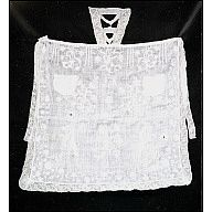 """CW: Apron, whitework with bib    ca. 1720  Origin: England  30"""" x 25""""  Linen embroidered with linen; linen bobbin lace  Gift of Mrs. Cora Ginsburg.    Acc. No. 1991-526    Apron of fine white linen embroidered with white linen thread, some areas done in drawnwork, trimmed with linen bobbin lace. (All fibers confirmed by microscope analysis). Whitework apron with pocket and bib, has design of flowers and birds in isolated units (not flowing design). Apron put together after embroidering, and…"""