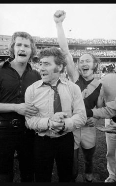 Tom Hafey in the middle, Kevin Bartlett on the right - two Richmond legends