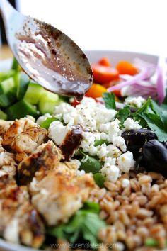 Chopped Farro and Kale Greek Salad | Lauren