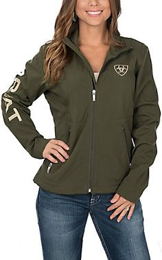 5e599edac39 Ariat Women's Brine and Olive Green Logos Long Sleeve Soft Shell Jacket  from Cavender's - COWGIRL