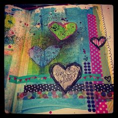 art journal --- the shading on that top heart makes it look like it's floating above the page!  So cool :)