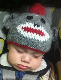 Free knitting pattern for Sock Monkey Hat - This baby Sock Monkey hat by RiderCub is based on a pattern by llcooper, who was inspired by a pattern by Sheryl Lange for Knitty.