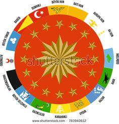 Turkey is located 16 stars in the Presidential pennant. they represent 16 Great Turkish States established in history. Cumhurbaşkanlığı Forsu ve üzerinde yer alan 16 yıldızın temsil ettiği Tarihteki hüküm sürmüş 16 büyük Türk devletlerinin bayrakları