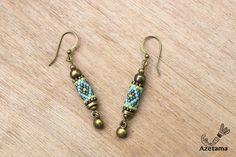 Boucles d'oreille Rustiques perles tissées Miyuki