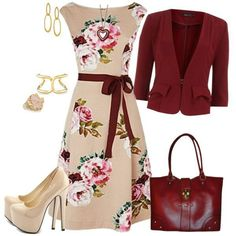 FLoral dress & red cardigan