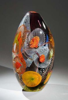 Eric Rubinstein - Title: Deep Amethyst Seascape Spiny Anemone - Medium: Blown Glass Vessel. Layered application of Canes, Murrine