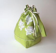 Drawstring knitting crochet project bag, Medium size spring green linen, white lace flowers