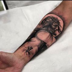 Jesus Forearm Tattoo, Jesus Hand Tattoo, Jesus Tattoo Sleeve, Jesus Tattoo Design, Forearm Sleeve Tattoos, Forearm Tattoo Design, Best Sleeve Tattoos, Lion Head Tattoos, Weird Tattoos