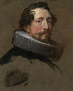 """Anthony van Dyck, """"Portrait Study of a Man, Facing Right"""" (c. 1634), oil on canvas, with paper extensions along the four sides, Private collection."""