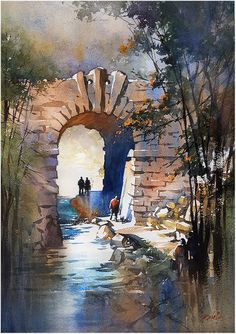 """Into the Northwood"" Central Park - NYC Thomas W Schaller - Watercolor. 30x22 Inches 12 Dec. 2015"