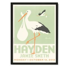 Stork Personalized Wall Art (Green with Black Frame)  | The Land of Nod