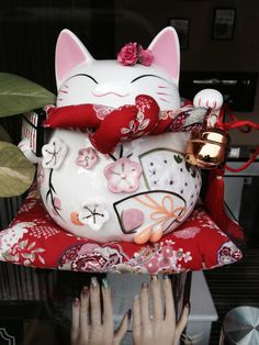 Lucky Cat- maneki neko!  Love him  cherry blossoms