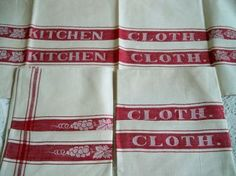 Vintage Kitchen Cloth Turkey Red Linen Towels Mint Set of 3